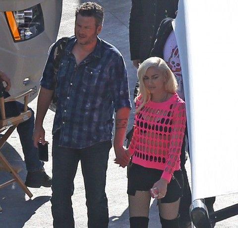 EXCLUSIVE: Gwen Stefani and Blake Shelton seen Backstage  at the billboard awards.