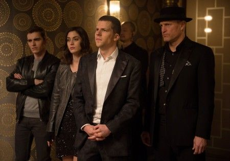 """Jesse Eisenberg, Woody Harrelson and Daniel Radcliffe star in the comedy """"Now You See Me 2"""" Pictured: Jesse Eisenberg, Woody Harrelson and Daniel Radcliffe star in the comedy """"Now You See Me 2"""" Ref: SPL1280280  190516   Picture by: Lionsgate/Splash News Splash News and Pictures Los Angeles: 310-821-2666 New York:  212-619-2666 London:    870-934-2666 photodesk@splashnews.com"""