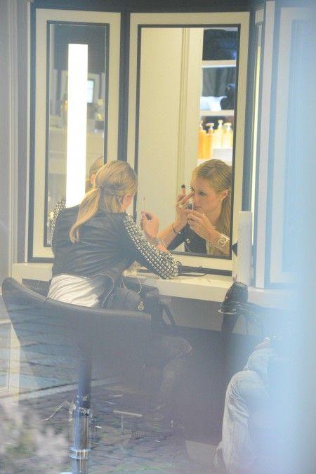 Paris Hilton with Italian Pietro Tavallini are seen at Cotril beauty salon.