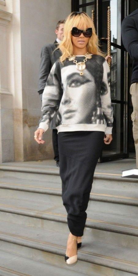 Rihanna leaving her hotel wearing an Elisabeth Taylor T-shirt in London, UK