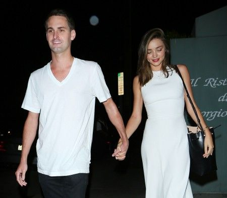 Miranda Kerr And Evan Spiegel leave Giorgio Baldi Restaurant after having dinner