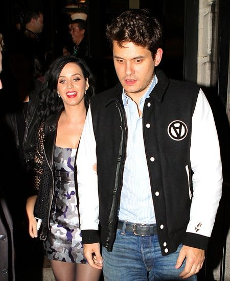 Katy Perry and John Mayer were spotted out in NYC late Saturday evening as they stepped out for a date night at the SNL afterparty. The couple held hands and smiled as they arrived to the Heartland Brewery in Times Square. Katy wore a Leather Mesh biker jacket, with a camouflage pattern silver and blue dress under. John wore a varsity jacket and a comfortable pair of stained blue jeans. Pictured: Katy Perry and John Mayer Ref: SPL630019  131013   Picture by: 247PapsTV / Splash News Splash News and Pictures Los Angeles:   310-821-2666 New York:  212-619-2666 London:    870-934-2666 photodesk@splashnews.com