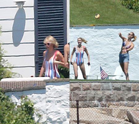 テイラー(左)、モデルのジジ・ハディッド(中央)、モデルのカーリー・クロス(右)が、国旗柄のスイムウェアでおそろい。