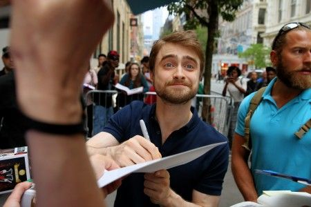 Actor Daniel Radcliffe arrives at the Apple Soho store in New York City on June 27, 2016. Daniel signs a pair of Harry Potter glasses.