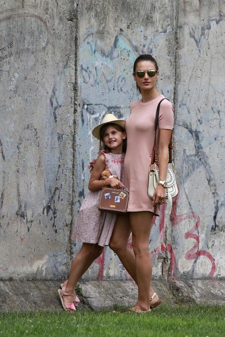 Alessandra Ambrosio with her daughter Anja and Milan Blagojevic sightseeing at the Berlin Wall Memorial during Berlin Fashion Week, Germany