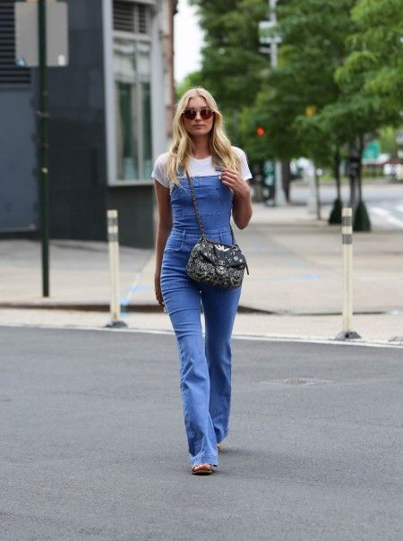 Model Elsa Hosk seen sporting denim overalls while out and about in NYC