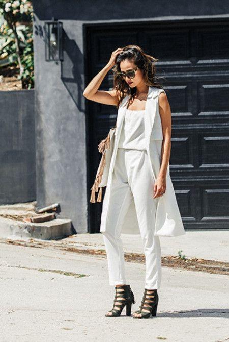ジェイミー・チャン Jamie Chung  白 オールホワイト ロングジレ ファッション