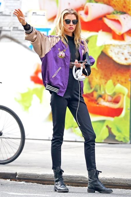 ステラ・マックスウェル  Stella Maxwell ブルゾン ボンバージャケット セレブ 秋スタイル モデル ファッション
