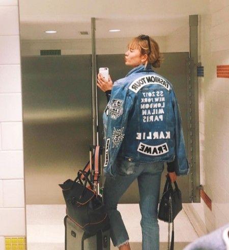 カーリー・クロス  Karlie Kloss  モデル フレーム Frame デニムブランド デニムジャケット ワッペン 被りアイテム 人気 海外セレブ ファッション