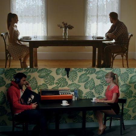 (上)「マイ・ウェイ」、(下)「ウィー・アー・ネヴァー・エヴァー・ゲッティング・バック・トゥギャザー」のテイラー。どちらのMVにも、長テーブルで向かい合うシーンが。