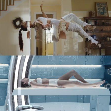 (上)「マイ・ウェイ」、(下)「バッド・ブラッド」のMVのテイラー。白いアンサブルの服も、ポーズも似ている。</p>