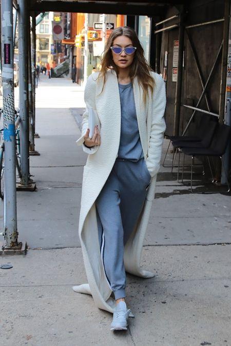 ジジ・ハディッド Gigi Hadid  コート アウター 長すぎる 引きずる セレブ ファッション スタイル 冬