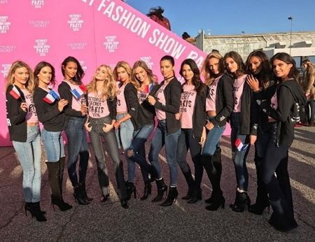 ヴィクトリアズ・シークレット Victoria's Secret ファッションショー パリ 飛行機 ヴィクシー仕様 可愛い モデル勢ぞろい ピンクのTシャツ おそろい
