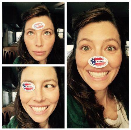 ジェシカ・ビール Jessica Biel アメリカ 大統領選挙 投票