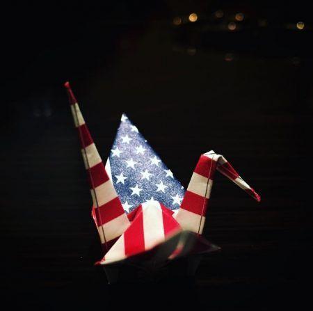レディー・ガガ Lady Gaga 折り鶴 アメリカ国旗 大統領選挙