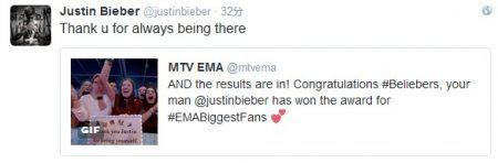 ジャスティン・ビーバー Justin Bieber カナダ ショッピング EMA ツイート