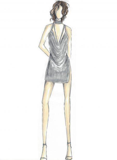 ケンダル・ジェナー Kendall Jenner 誕生日 バースデー パーティ ドレス スケッチ画 デザイン