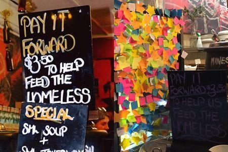 お店にはペイ・イット・フォワードをした人が書いたメッセージが貼られている。©Humans In Melbourne/The Soup Place