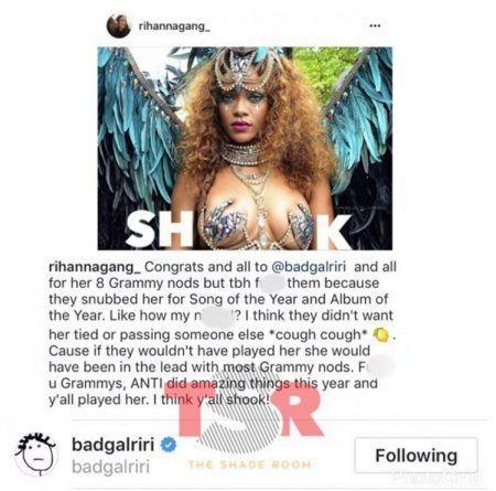 リアーナ ビヨンセ Rihanna Beyonce インスタグラム コメント