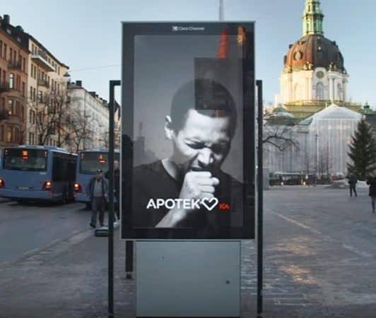スウェーデン 喫煙者に咳をする広告 Apotek Hjärtat Åkestam Holst