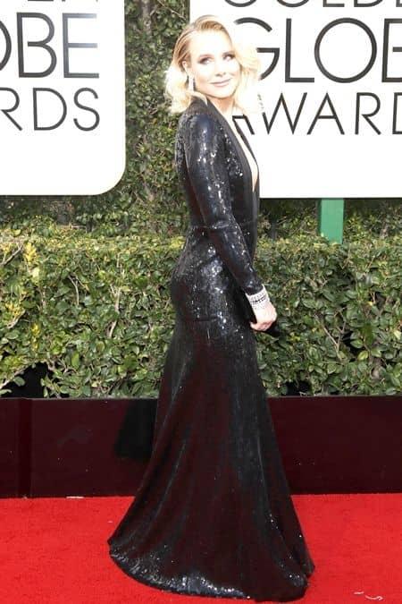 Kristen Bell クリスティン・ベル レッドカーペット 秘密 裏側 お尻パッド ドレス ゴールデン・グローブ賞 セレブ 女優