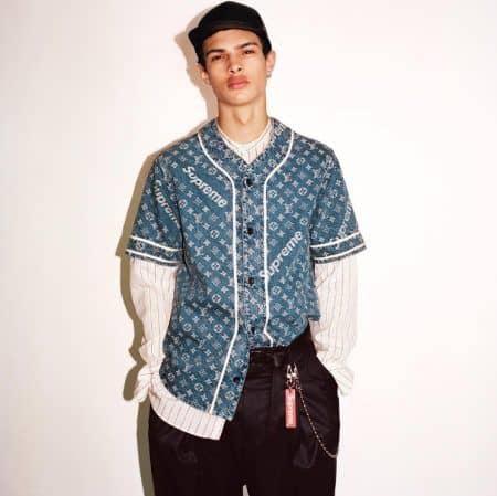 ルイ・ヴィトン×シュプリーム Louis Vuitton Supreme デニムベースボールシャツ