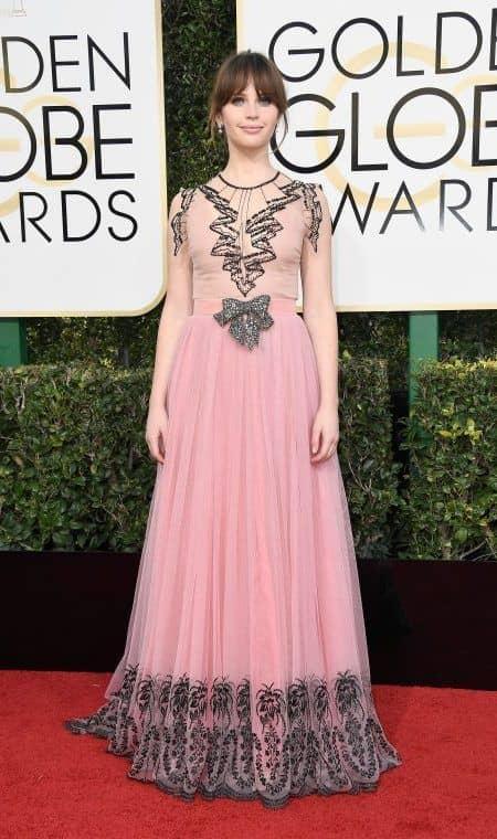 フェリシティ・ジョーンズ Felicity Jones ゴールデン・グローブ賞 ドレス