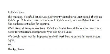 カイリー・ジェナー Kylie Jenner 公式アプリ 運営チーム 謝罪文