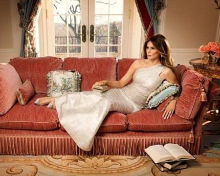 メラニア・トランプ Melania Trump 自宅 ソファー くつろぎ空間