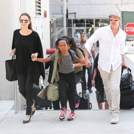 2014 アンジェリーナ・ジョリー Angelina Jolie ザハラ Zahara Jolie Pitt ブラッド・ピット Brad Pitt ロサンゼルス 空港