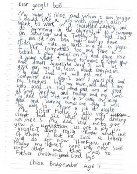 グーグル Google 7歳少女 就職 志願 手紙