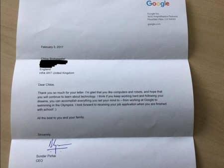 Sundar Pichai サンダー・ピチャイ グーグル Google  手紙 CEO 少女 返信