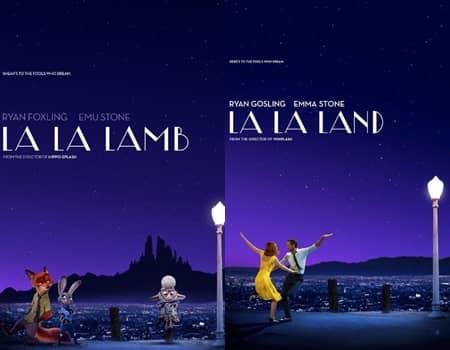 アカデミー賞 ズートピア パロディーポスター オスカー ラ・ラ・ランド La La Land キャラクター ラ・ラ・ラム La La Lamb