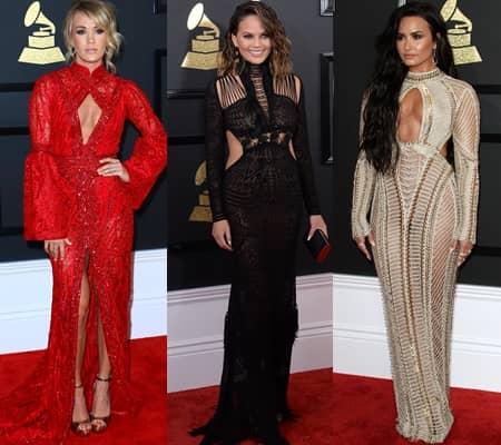 キャリー・アンダーウッド Carrie Underwood クリッシー・テイゲン chrissy teigen デミ・ロヴァート Demi Lovato グラミー賞 レッドカーペット 2017年 第59回 裏側 人気ドレス カットアウト