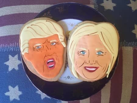 Donald  Trump ドナルド・トランプ Hillary Clinton ヒラリー・クリントン セレブ 顔クッキー NY  The Cupcake Market カップケーキマーケット サラ・シルバーマン