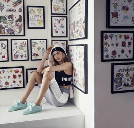 カーラ・デルヴィーニュ Cara Delevingne プーマ Puma アンバサダー スニーカー スウェードハート パステルカラー 太めリボン 可愛い 海外 靴