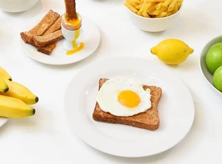 食事 卵 バナナ レモン トースト Meal Egg Toast Bananas Lemon