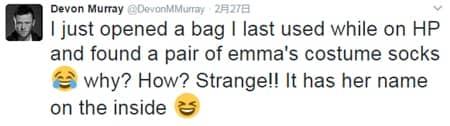 デヴォン・マーレイ ツイート エマ・ワトソン 靴下 発見 ハリーポッター Devon Murray Found Emma Watson's Socks in his Bag